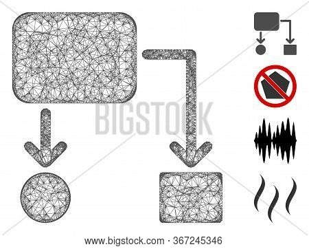 Mesh Flow Chart Web 2d Vector Illustration. Carcass Model Is Based On Flow Chart Flat Icon. Network