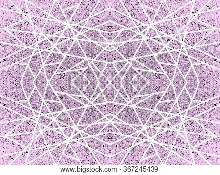 Purple background with kaleidoscope effect. Abstract geometric pattern of white criss-cross lines. Symmetric spiderweb effect, stone texture. For modern technology design of wallpapers, websites, textile, wrapping paper