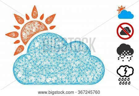 Mesh Cloudy Weather Web Symbol Vector Illustration. Model Is Based On Cloudy Weather Flat Icon. Mesh