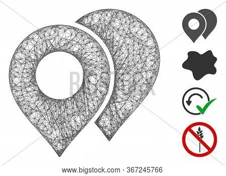 Mesh Map Markers Web Icon Vector Illustration. Model Is Based On Map Markers Flat Icon. Network Form