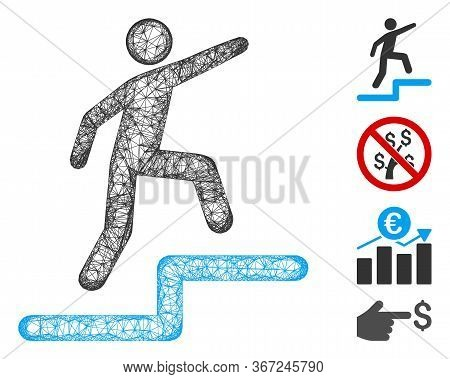 Mesh Business Growth Web Icon Vector Illustration. Carcass Model Is Based On Business Growth Flat Ic