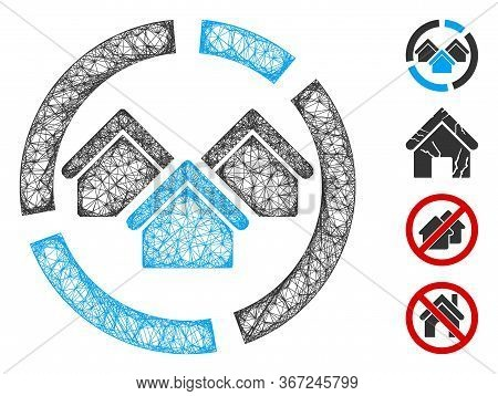 Mesh Realty Diagram Web Icon Vector Illustration. Carcass Model Is Based On Realty Diagram Flat Icon