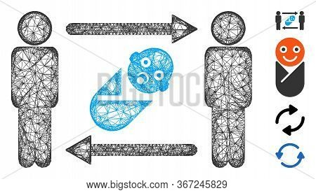 Mesh Persons Newborn Exchange Web Icon Vector Illustration. Carcass Model Is Created From Persons Ne