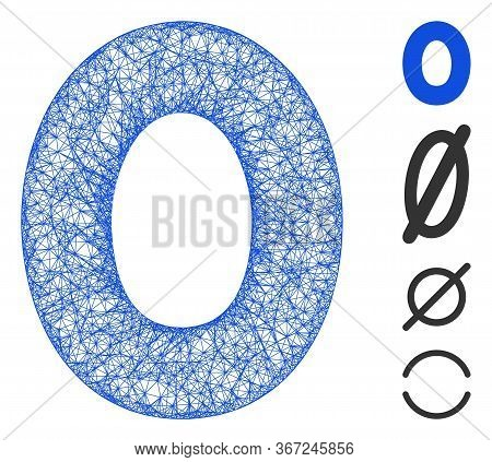 Mesh 0 Digit Web Symbol Vector Illustration. Model Is Based On 0 Digit Flat Icon. Mesh Forms Abstrac