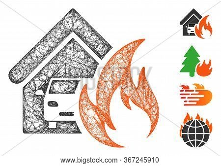 Mesh Garage Fire Disaster Web Symbol Vector Illustration. Model Is Based On Garage Fire Disaster Fla