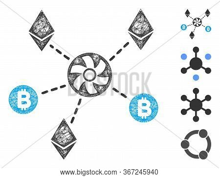 Mesh Cryptocurrency Blender Rotor Web 2d Vector Illustration. Model Is Based On Cryptocurrency Blend
