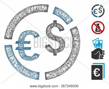 Mesh Currency Diagram Web Icon Vector Illustration. Carcass Model Is Created From Currency Diagram F