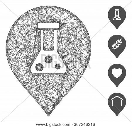 Mesh Chemical Map Marker Web Icon Vector Illustration. Carcass Model Is Based On Chemical Map Marker