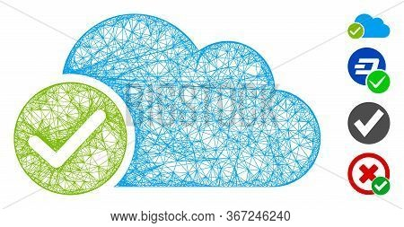 Mesh Valid Cloud Web Icon Vector Illustration. Model Is Based On Valid Cloud Flat Icon. Mesh Forms A