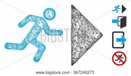 Mesh Exit Direction Web Icon Vector Illustration. Model Is Based On Exit Direction Flat Icon. Mesh F