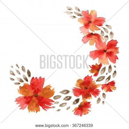 Cute Watercolor Rounded Semicircle Wreath In Warm Red And Brown Autumn Colors. Watercolour Frame Wit