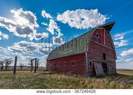 Vintage Red Barn On The Prairies Near Lacadena, Saskatchewan