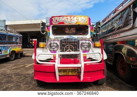 Manila, Philippines - February 26, 2013: Jeepneys Are Popular Public Transport In The Philippines, T