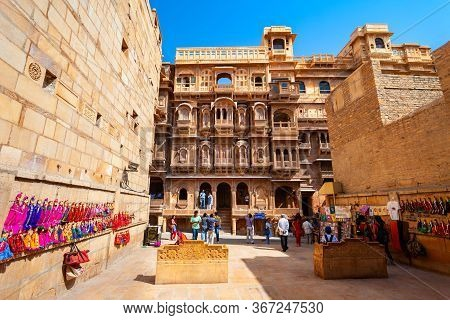 Jaisalmer, India - October 14, 2013: Rajasthan Heritage Building Made Of Yellow Limestone Known As T