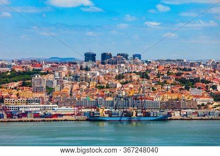 Lisbon, Portugal - June 26, 2014: Lisbon City Aerial Panoramic View. Lisbon Or Lisboa Is The Capital