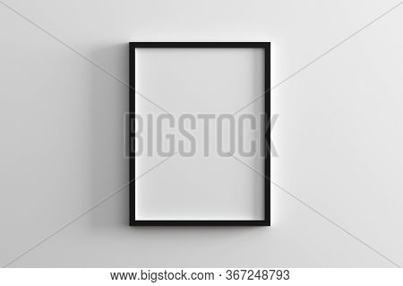 Blank Frame On White Wall Mock Up, Vertical Black Poster Frame On Wall,  Picture Frame Isolated On A