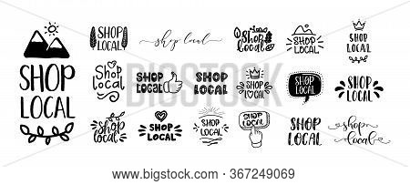Shop Local Set Of Hand Drawn Text And Doodles Badges, Logo, Icons. Handwritten Modern Vector Brush L