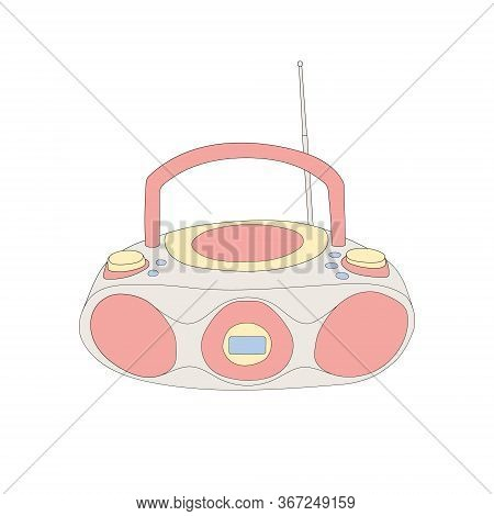 Vector Hand Drawn Flat Illustration Of Cd Recorder Isolated On White Background. Retro Vintage 2000s