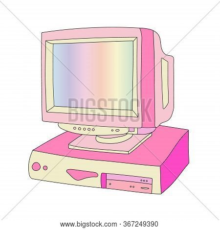 Vector Hand Drawn Flat Illustration Of Vintage Computer Isolated On White Background. Retro Pc. 80s