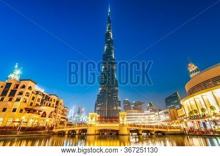 Dubai, Uae - February 24, 2019: Burj Khalifa Or Khalifa Tower Is A Skyscraper And The Tallest Buildi