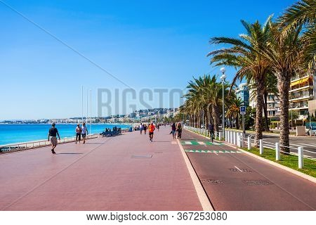 Nice, France - September 27, 2018: The Promenade Des Anglais Is A Promenade Along The Mediterranean