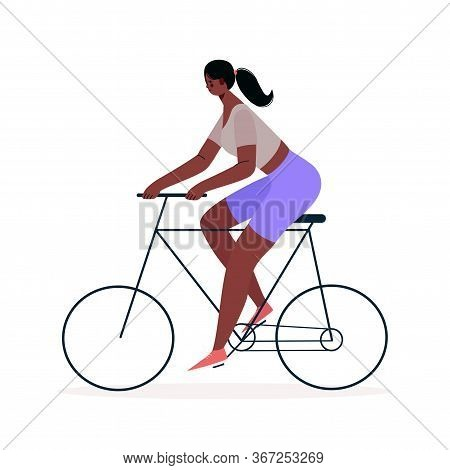 Woman Riding Bicycle . Cycling, Training, Cardio Exercising, Relaxing . Ecology Concept. Sports And