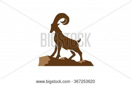 Goat Mountain Stand On Rocks For Logo Design, Goat Vector On The Rock, Goat Symbol Illustration On W