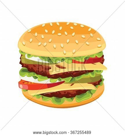 Vector Realistic Burger Tasty Include Cutlet Onion