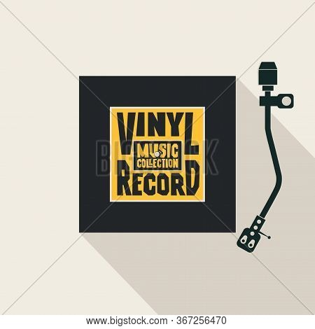 Vector Music Banner With Square Label For Vinyl Record, Record Player And Words Vinyl Record, Music