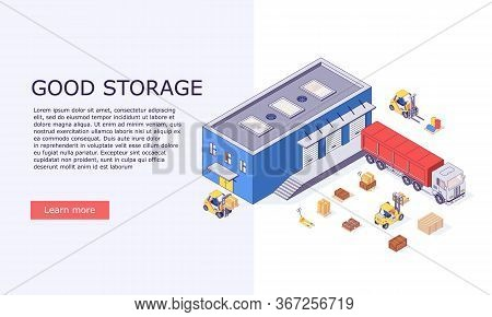 Isometric Logistic Warehouse Invertory Boxes Trucks Forklifts Goods And Delivery Storage Banner Vect
