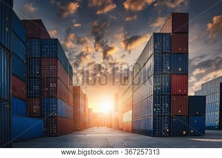 Container Cargo Port Ship Yard Storage Handling Of Logistic Transportation Industry. Row Of Stacking