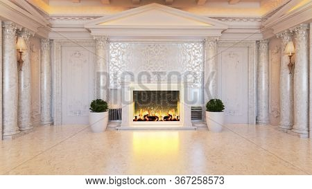 White Baroque And Classic Interior Design Idea With Fireplace And Plant, White Marble Floor And Colu