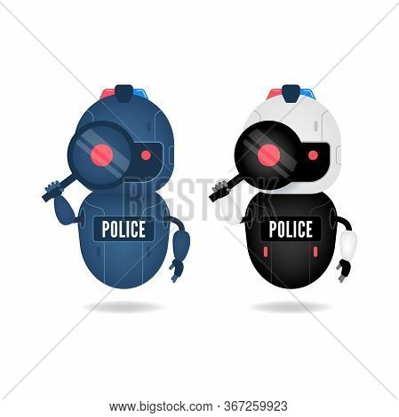 Police Friendly Android Robot Looking Through The Magnifying Glass. Search Conceptual.