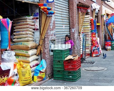 Cuenca, Ecuador - December 23, 2018: Shops, Which Sell Seeds, Animal's Food At Plaza Civic Next To T