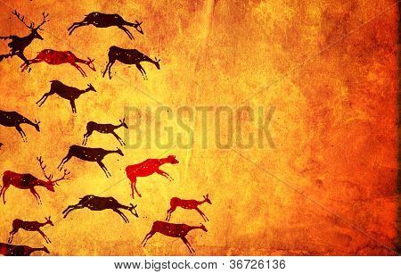 Background with pictures of primitive people