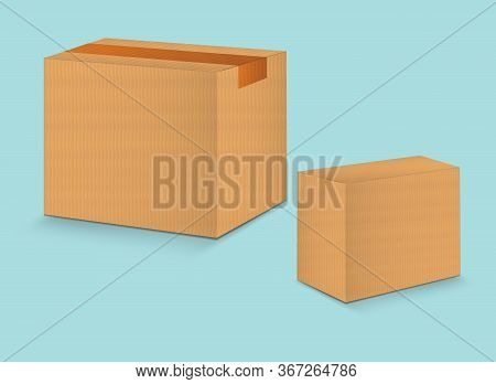 Brown Paper Packaging Box Vector, Package Design, 3d Box, Cardboard Box, Realistic Packaging For Cos