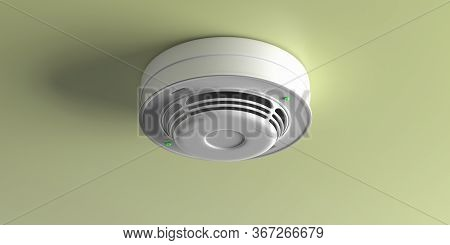 Smoke Detector On Ceiling.  Fire Safety Equipment. 3D Illustration