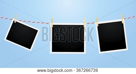 Pictures Framed On A Rope. Vector Image Of Clothespins Photos. Stock Template.