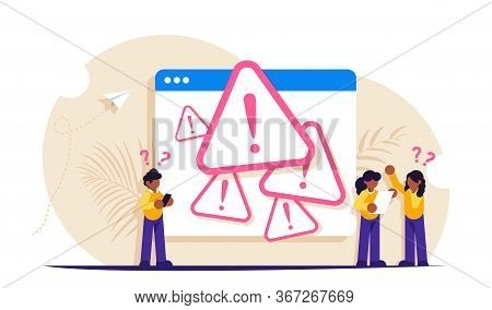 System Error Concept. People Stand Near The Open Browser Tab With An Error. Modern Flat Illustration