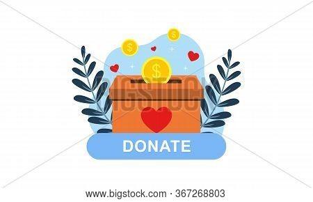 Donation Box With Hand Logo Illustration Design