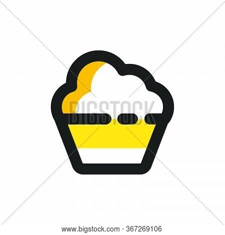 Flat Mbe Style Black Gold Sweet Dessert Drink Icon, Lovely Yellow Orange Beverage Ice Cream Item, Ad