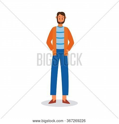 Smiling Cartoon Guy Or Young Man In Casual Clothes, Flat Vector Illustration Isolated On White Backg