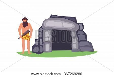 Stone Age House With Primitive Man Character, Flat Vector Illustration Isolated.