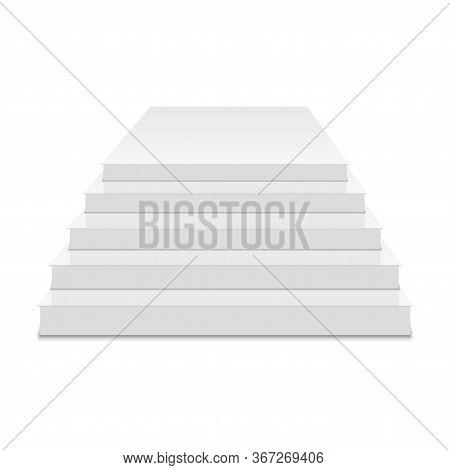White Podium. Square 3d Empty Podium With Steps. Vector