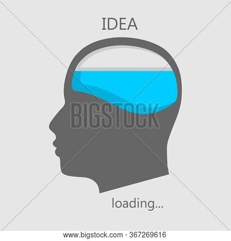 Illustration Of Brainwork, Idea Appearance. Progress Or Loading Bar.