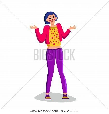 Shrugging Shoulders Confused Young Woman Vector Illustration
