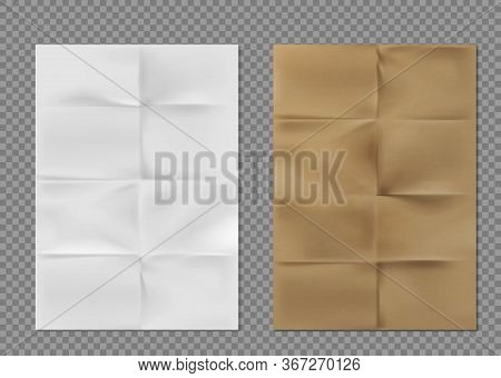 Wrinkled Paper Texture, White And Brown Kraft Folded Sheets. Blank Flyers With Folds, Vintage Letter