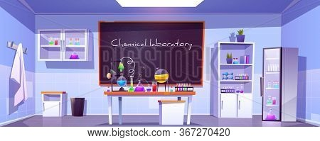 Chemical Laboratory, Empty Chemistry Cabinet Or Classroom Interior With Blackboard, Beakers For Expe