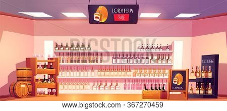 Alcohol Shop With Bottles, Wooden Rack, Shelves, Barrels And Advertising Stand. Vector Cartoon Inter
