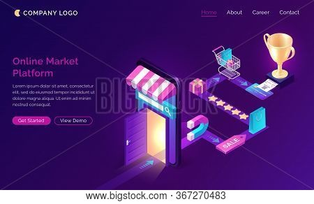 Online Market Platform Isometric Landing Page, Customer Journey Road Map. Buyer Shopping Experience